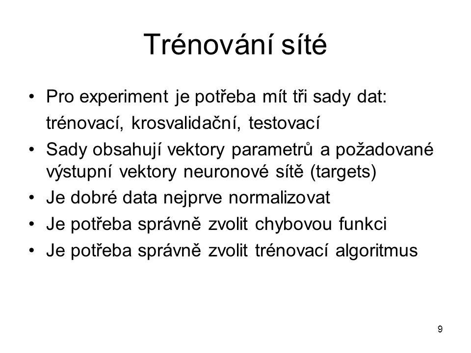 Trénování síté Pro experiment je potřeba mít tři sady dat: