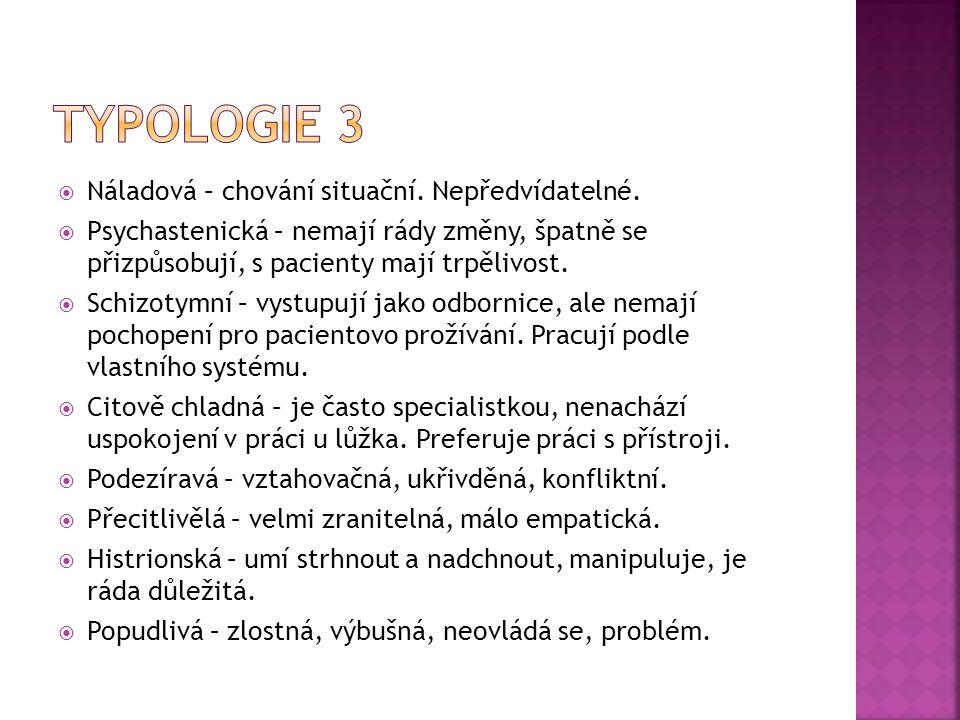 Typologie 3 Náladová – chování situační. Nepředvídatelné.