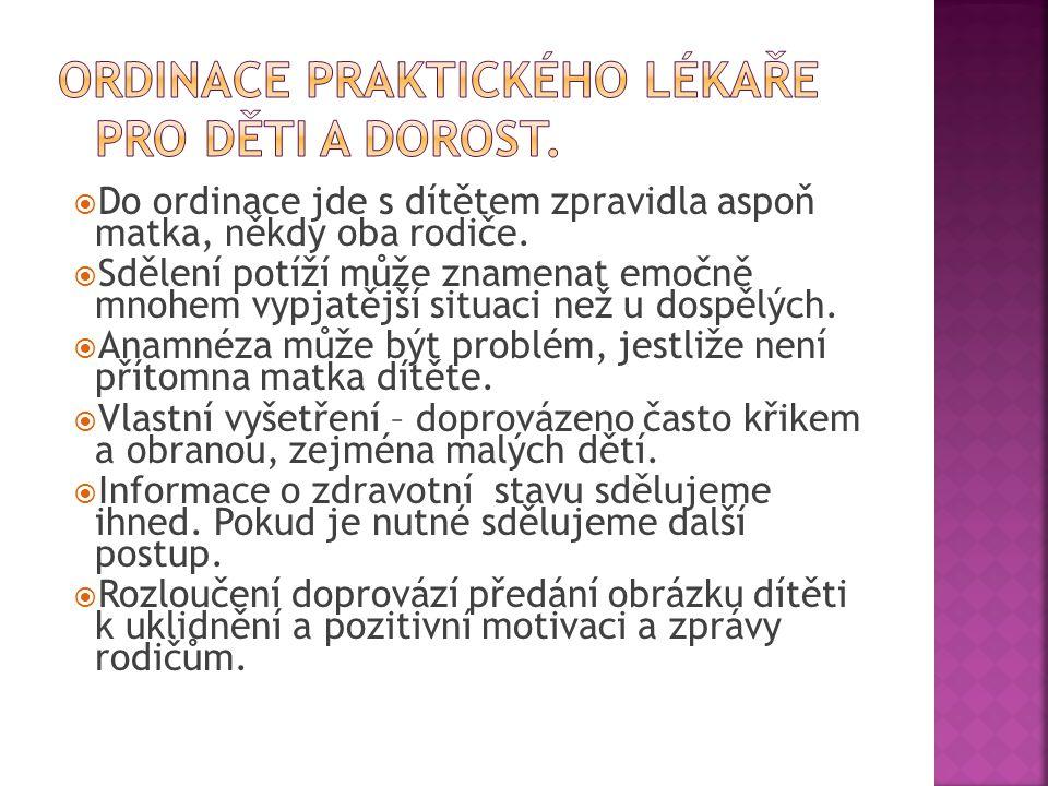 Ordinace praktického lékaře pro děti a dorost.