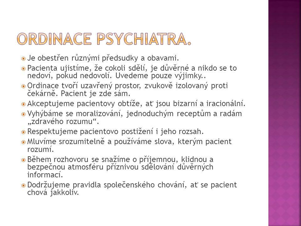 Ordinace psychiatra. Je obestřen různými předsudky a obavami.