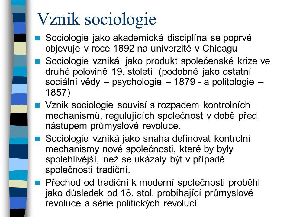 Vznik sociologie Sociologie jako akademická disciplína se poprvé objevuje v roce 1892 na univerzitě v Chicagu.