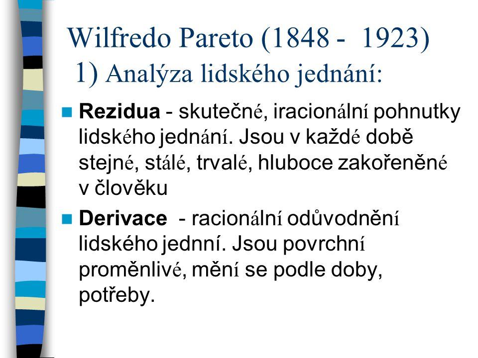 Wilfredo Pareto (1848 - 1923) 1) Analýza lidského jednání:
