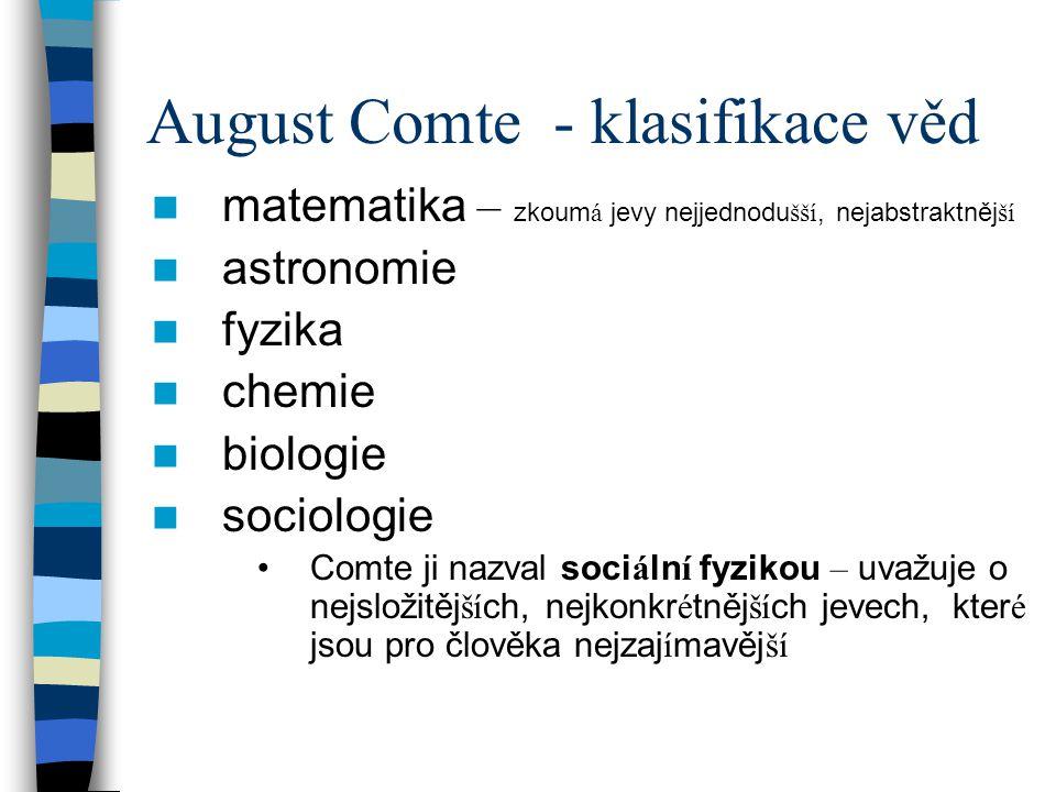 August Comte - klasifikace věd