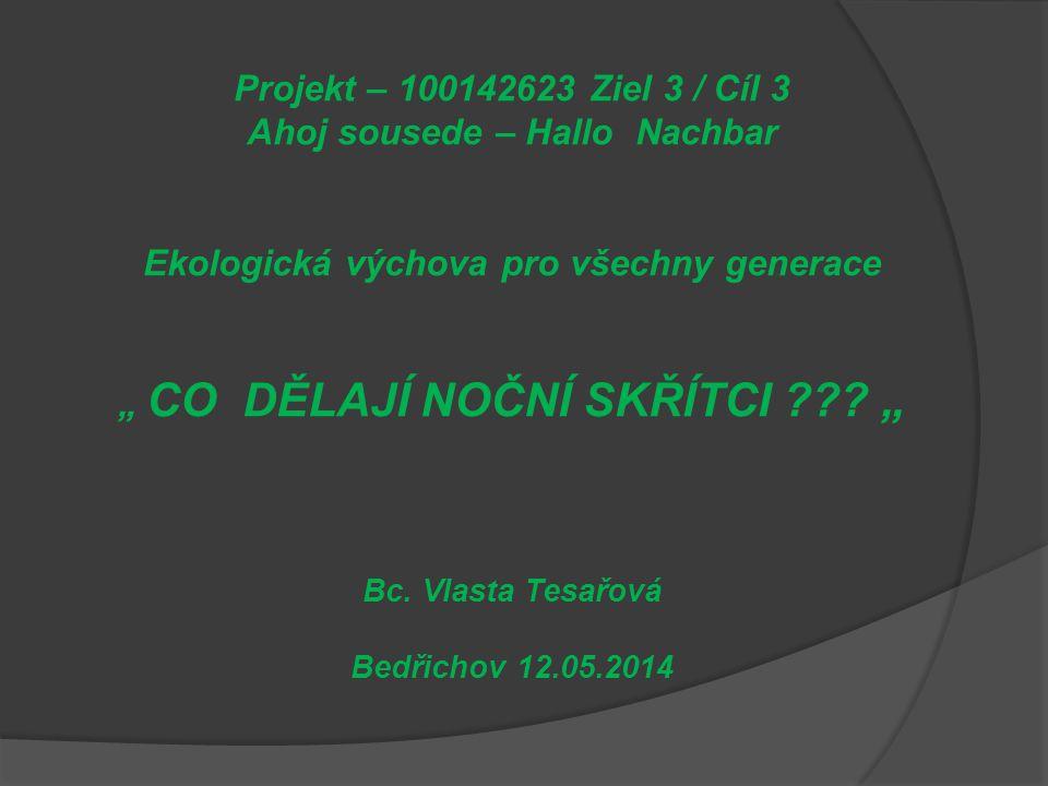 """Projekt – 100142623 Ziel 3 / Cíl 3 Ahoj sousede – Hallo Nachbar Ekologická výchova pro všechny generace """" CO DĚLAJÍ NOČNÍ SKŘÍTCI ."""