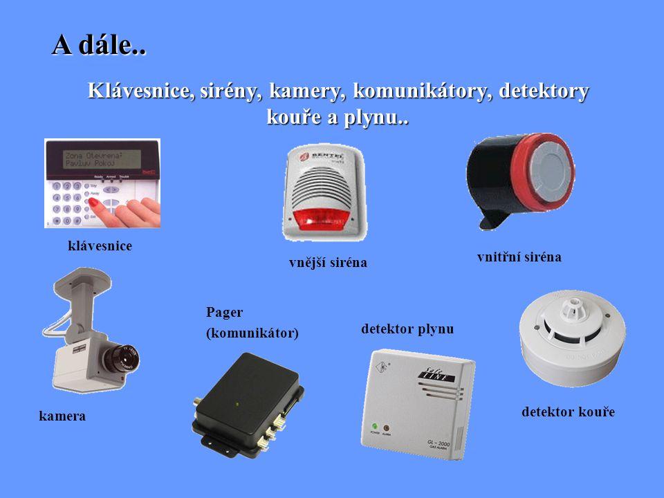 Klávesnice, sirény, kamery, komunikátory, detektory kouře a plynu..