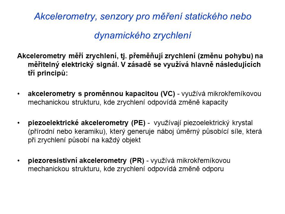 Akcelerometry, senzory pro měření statického nebo dynamického zrychlení