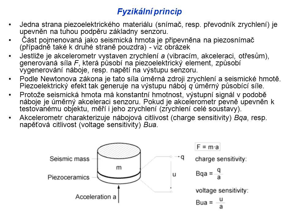 Fyzikální princip Jedna strana piezoelektrického materiálu (snímač, resp. převodník zrychlení) je upevněn na tuhou podpěru základny senzoru.