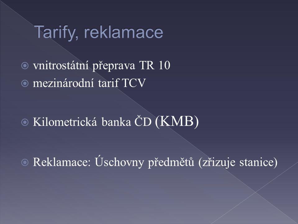 Tarify, reklamace vnitrostátní přeprava TR 10 mezinárodní tarif TCV