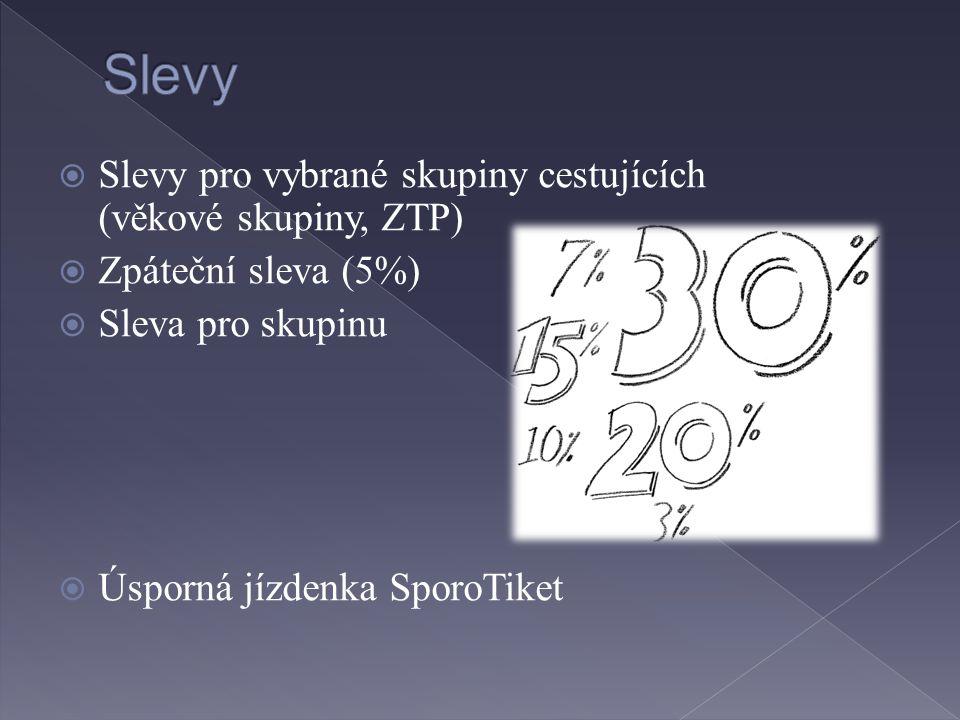 Slevy Slevy pro vybrané skupiny cestujících (věkové skupiny, ZTP)
