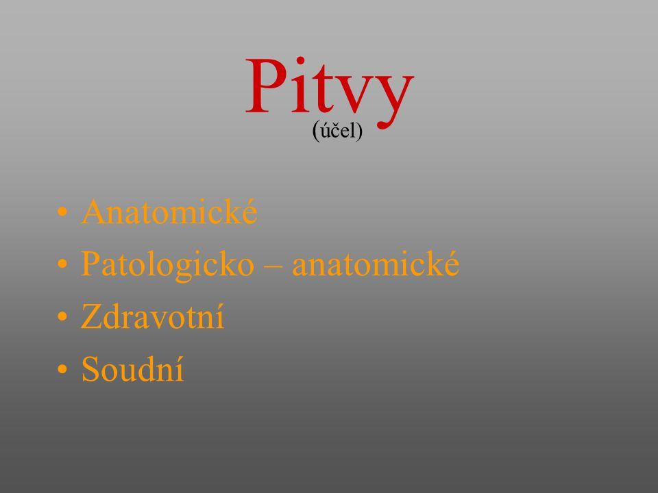 Pitvy (účel) Anatomické Patologicko – anatomické Zdravotní Soudní