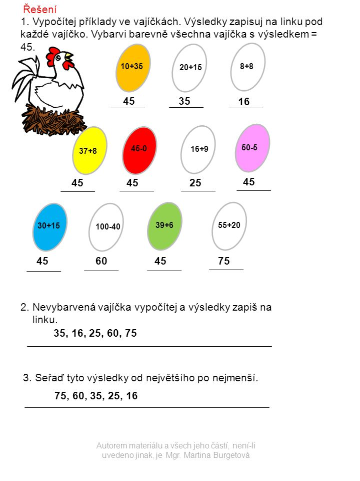 2. Nevybarvená vajíčka vypočítej a výsledky zapiš na linku.