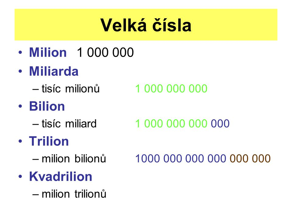 Velká čísla Milion 1 000 000 Miliarda Bilion Trilion Kvadrilion