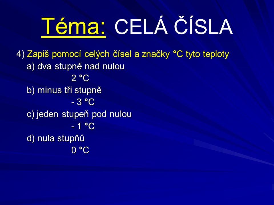 Téma: CELÁ ČÍSLA 4) Zapiš pomocí celých čísel a značky °C tyto teploty