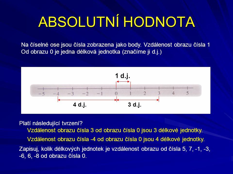 ABSOLUTNÍ HODNOTA Na číselné ose jsou čísla zobrazena jako body. Vzdálenost obrazu čísla 1. Od obrazu 0 je jedna délková jednotka (značíme ji d.j.)