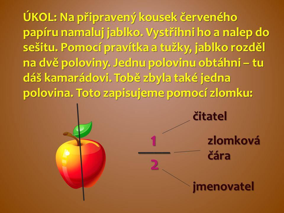 ÚKOL: Na připravený kousek červeného papíru namaluj jablko