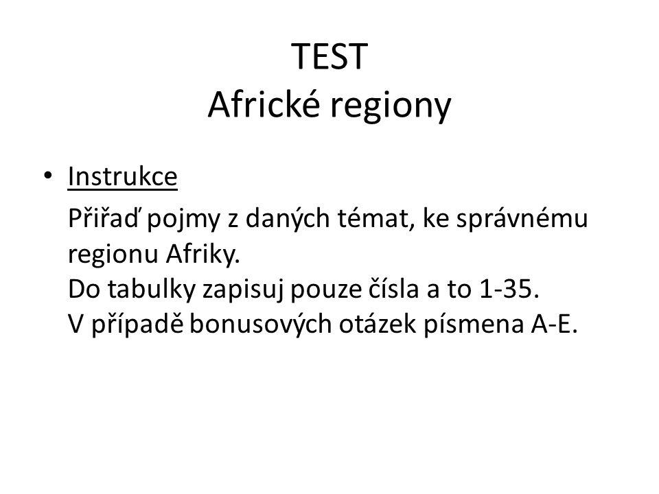 TEST Africké regiony Instrukce