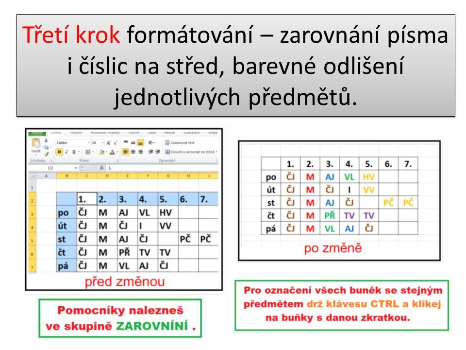 Třetí krok formátování – zarovnání písma i číslic na střed, barevné odlišení jednotlivých předmětů.