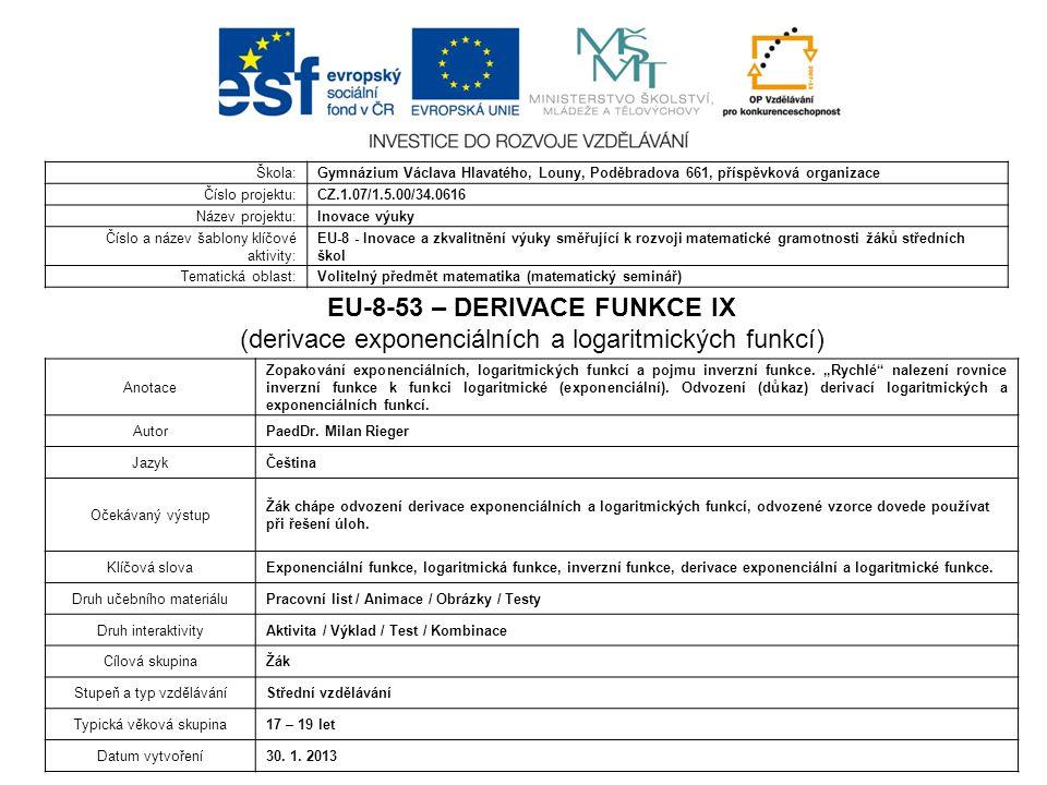 EU-8-53 – DERIVACE FUNKCE IX