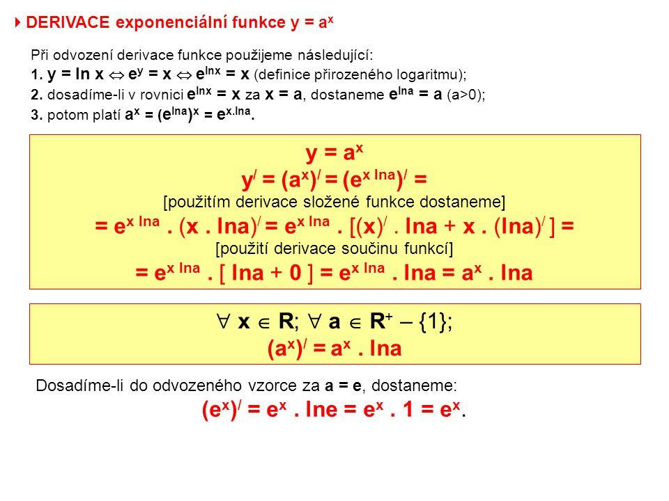 y = ax y/ = (ax)/ = (ex lna)/ =
