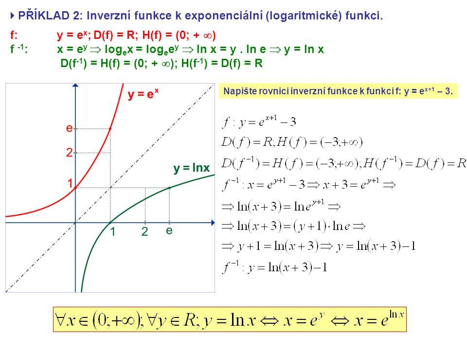 PŘÍKLAD 2: Inverzní funkce k exponenciální (logaritmické) funkci.