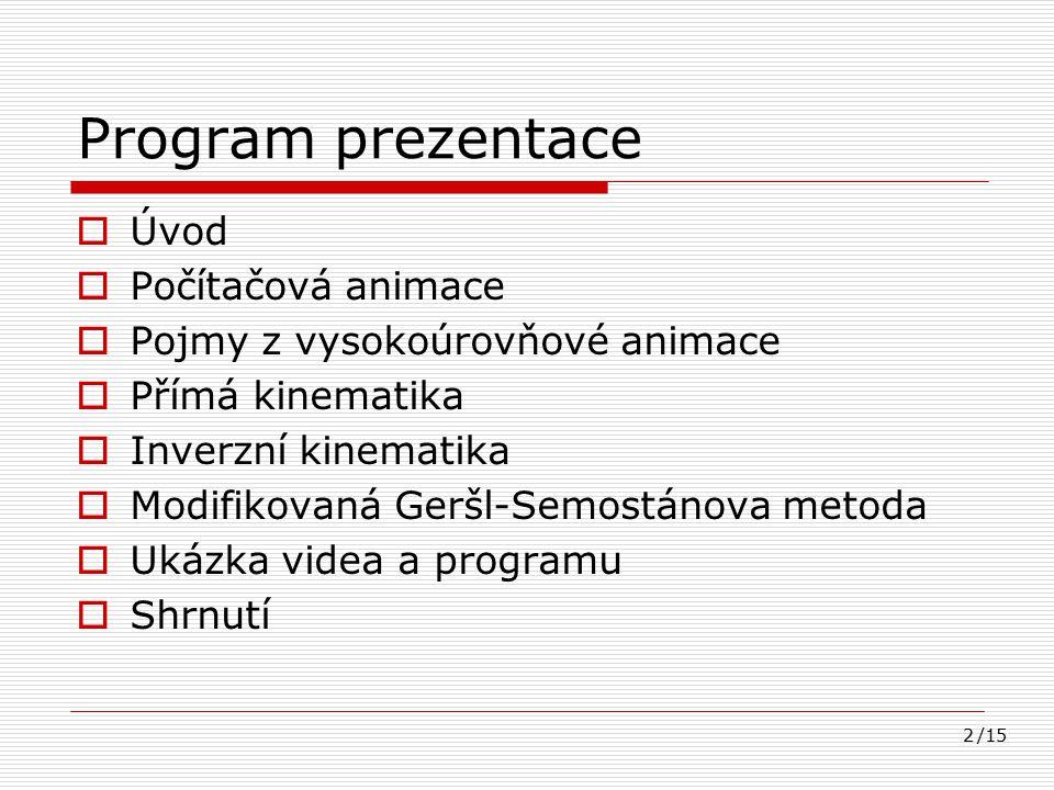 Program prezentace Úvod Počítačová animace
