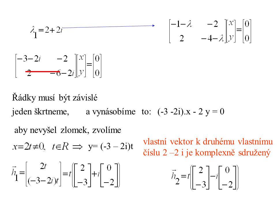 Řádky musí být závislé jeden škrtneme, a vynásobíme to: (-3 -2i).x - 2 y = 0. aby nevyšel zlomek, zvolíme.