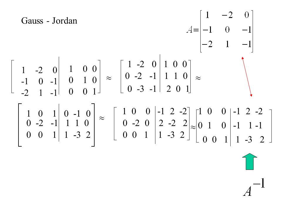 Gauss - Jordan 1 -2 0 1 0 0. -2 0. -1 0 -1. -2 1 -1. 0 0. 0 1 0. 0 0 1.