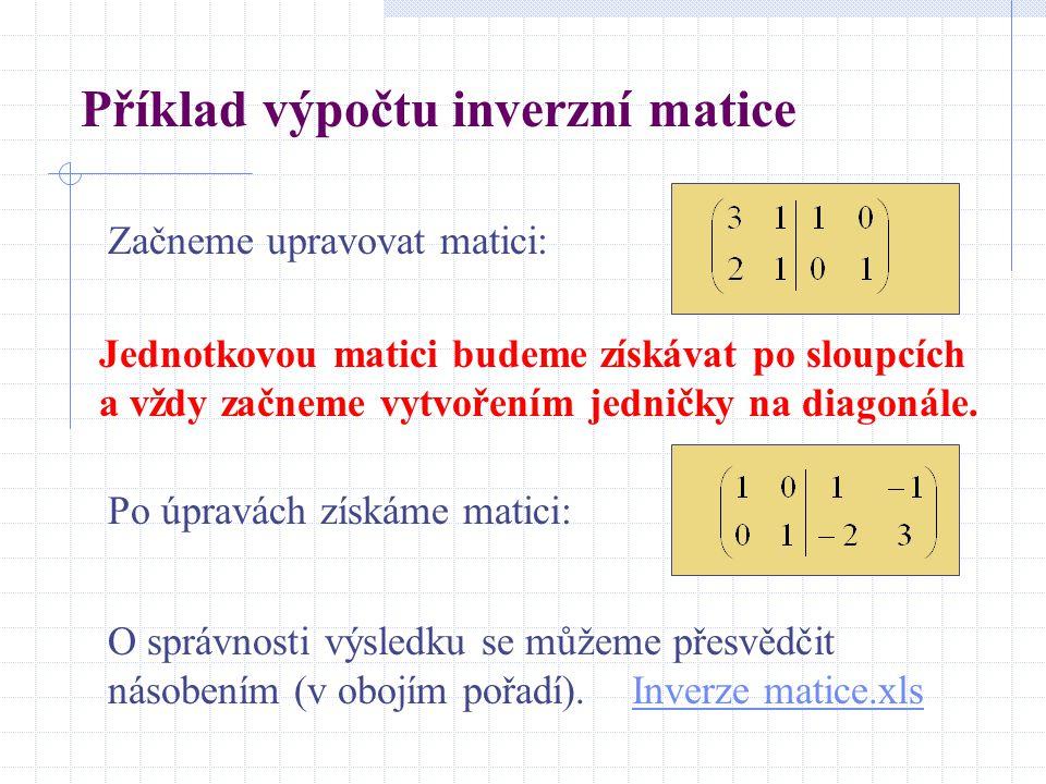 Příklad výpočtu inverzní matice