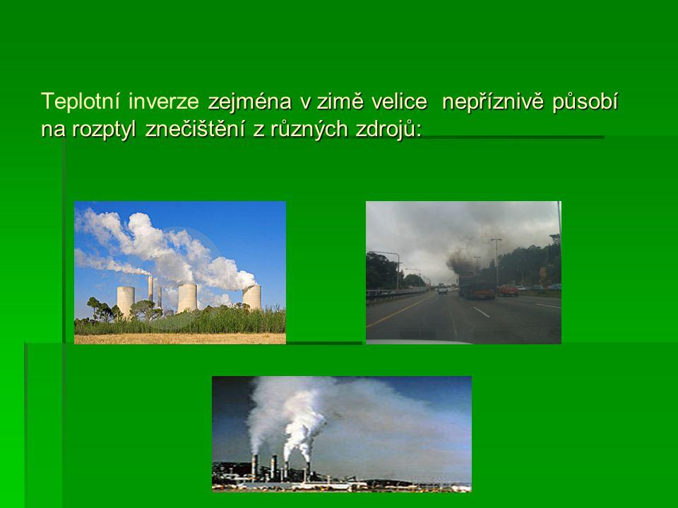 Teplotní inverze zejména v zimě velice nepříznivě působí na rozptyl znečištění z různých zdrojů: