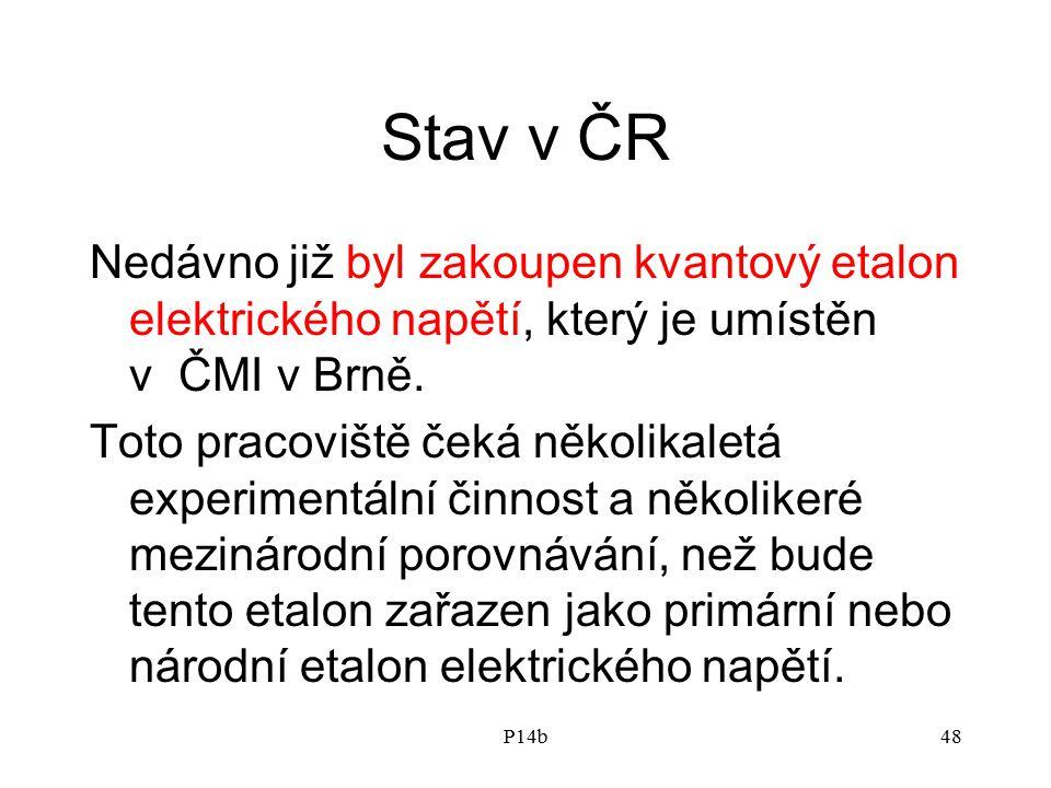 Stav v ČR Nedávno již byl zakoupen kvantový etalon elektrického napětí, který je umístěn v ČMI v Brně.