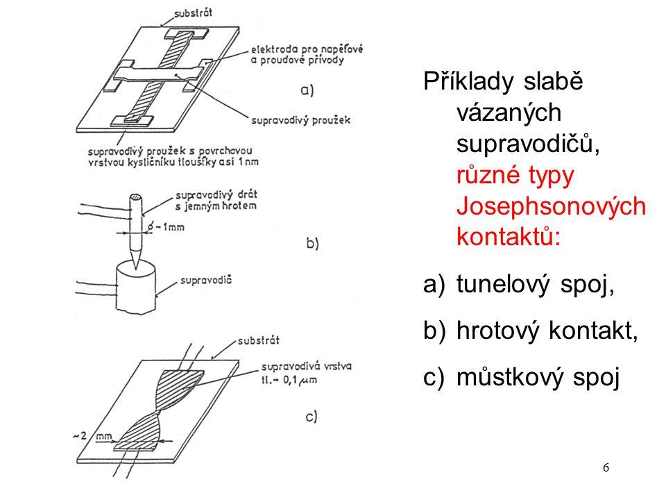 Příklady slabě vázaných supravodičů, různé typy Josephsonových kontaktů: