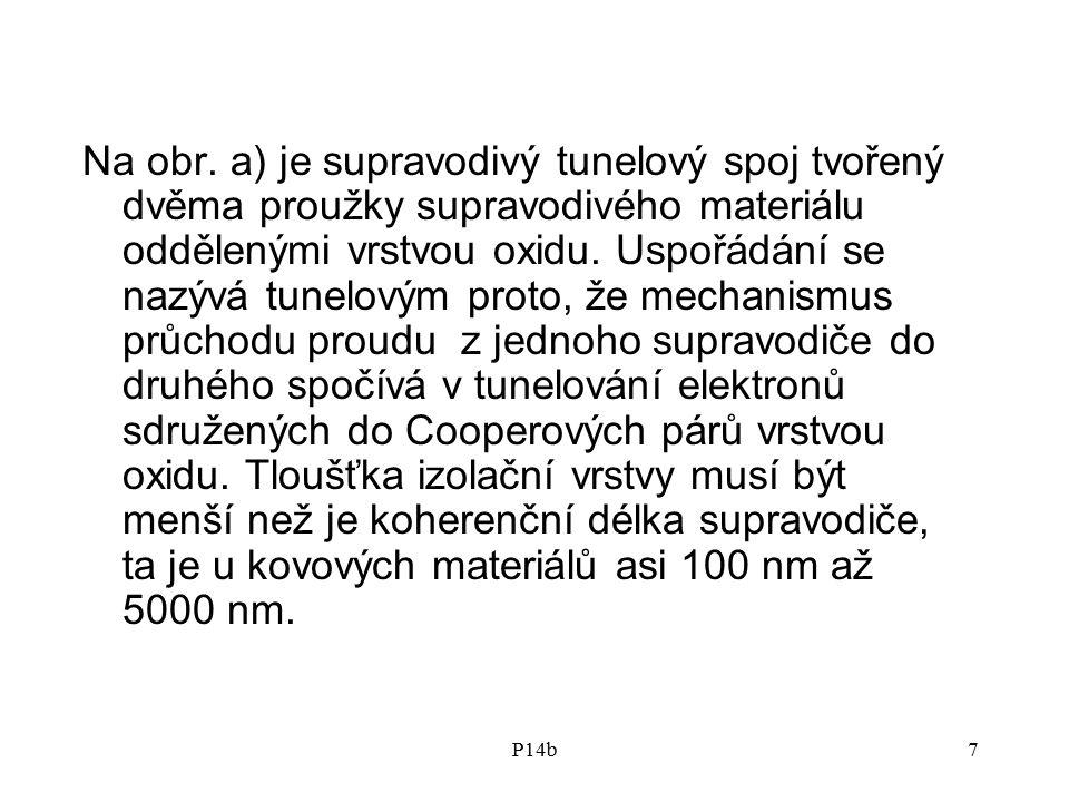 Na obr. a) je supravodivý tunelový spoj tvořený dvěma proužky supravodivého materiálu oddělenými vrstvou oxidu. Uspořádání se nazývá tunelovým proto, že mechanismus průchodu proudu z jednoho supravodiče do druhého spočívá v tunelování elektronů sdružených do Cooperových párů vrstvou oxidu. Tloušťka izolační vrstvy musí být menší než je koherenční délka supravodiče, ta je u kovových materiálů asi 100 nm až 5000 nm.