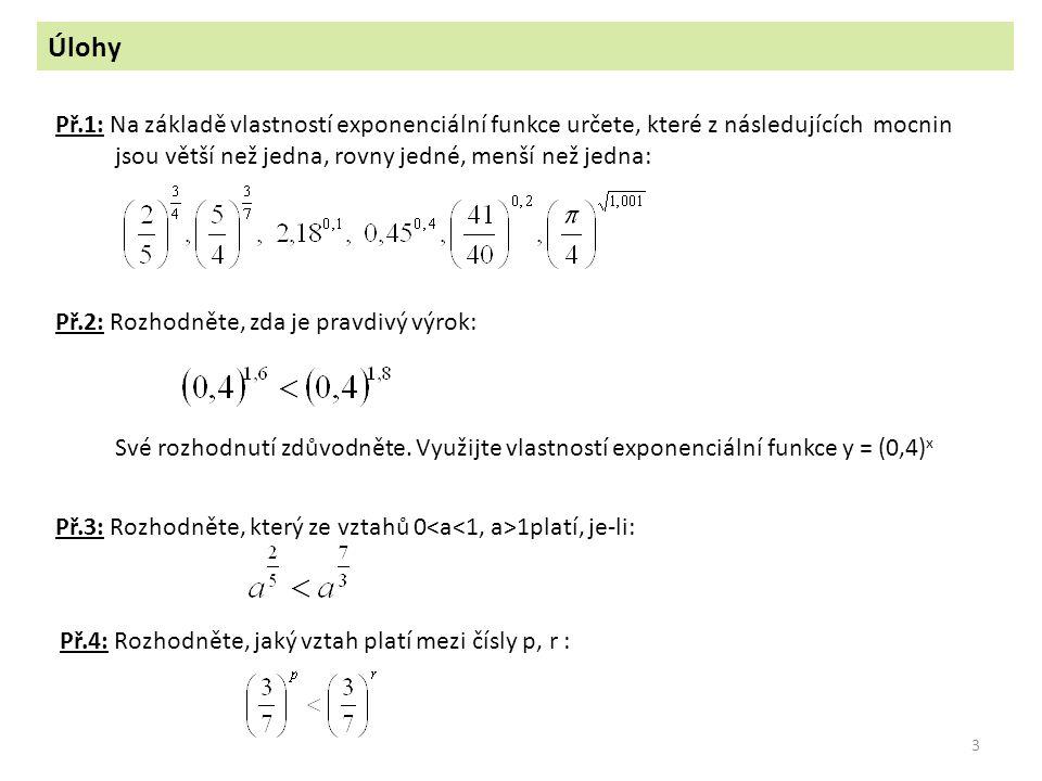 Úlohy Př.1: Na základě vlastností exponenciální funkce určete, které z následujících mocnin. jsou větší než jedna, rovny jedné, menší než jedna:
