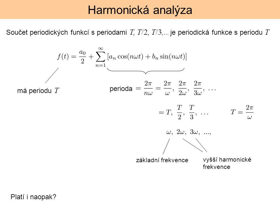 Harmonická analýza Součet periodických funkcí s periodami T, T/2, T/3,... je periodická funkce s periodu T.