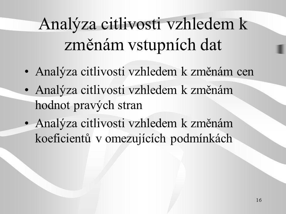 Analýza citlivosti vzhledem k změnám vstupních dat