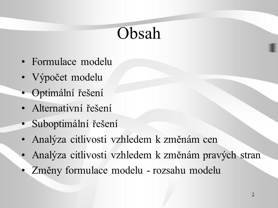 Obsah Formulace modelu Výpočet modelu Optimální řešení