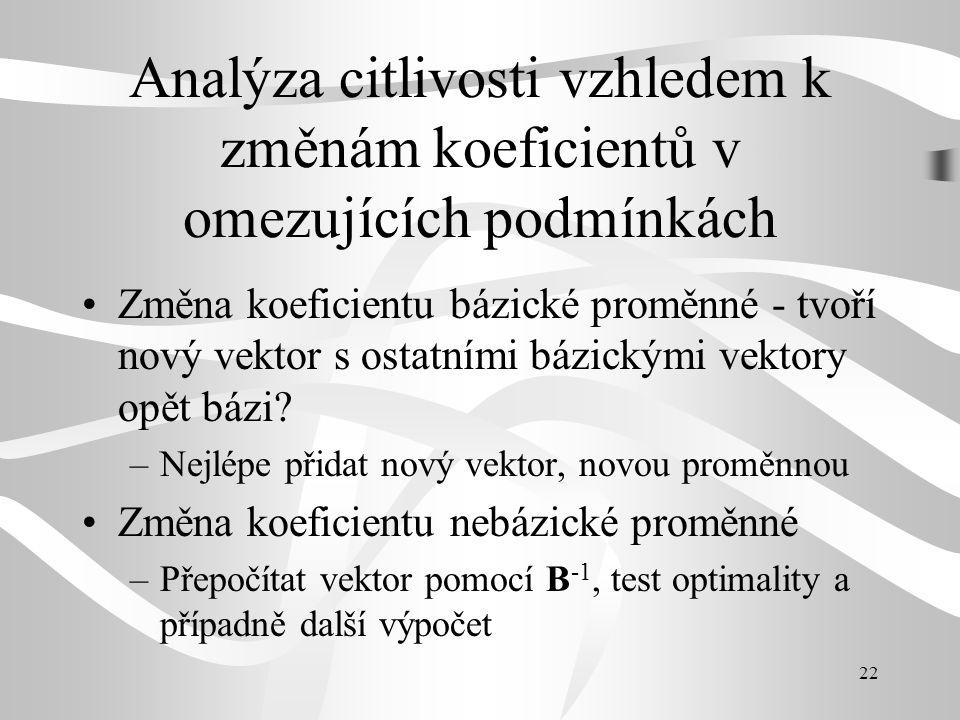 Analýza citlivosti vzhledem k změnám koeficientů v omezujících podmínkách