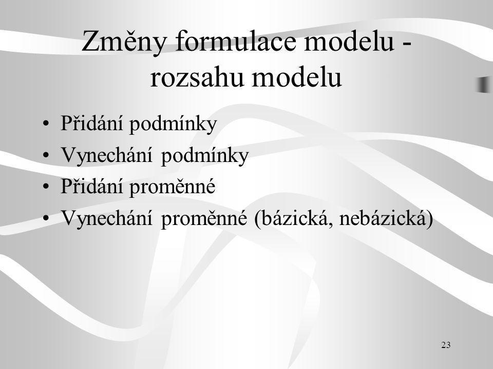 Změny formulace modelu - rozsahu modelu