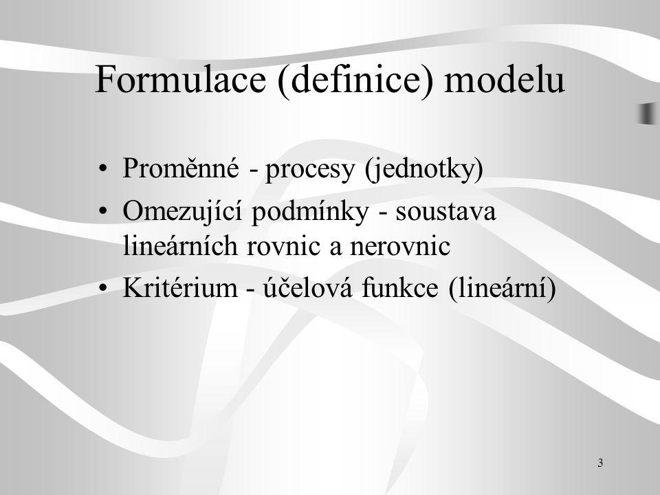 Formulace (definice) modelu