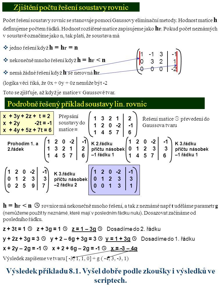 Zjištění počtu řešení soustavy rovnic