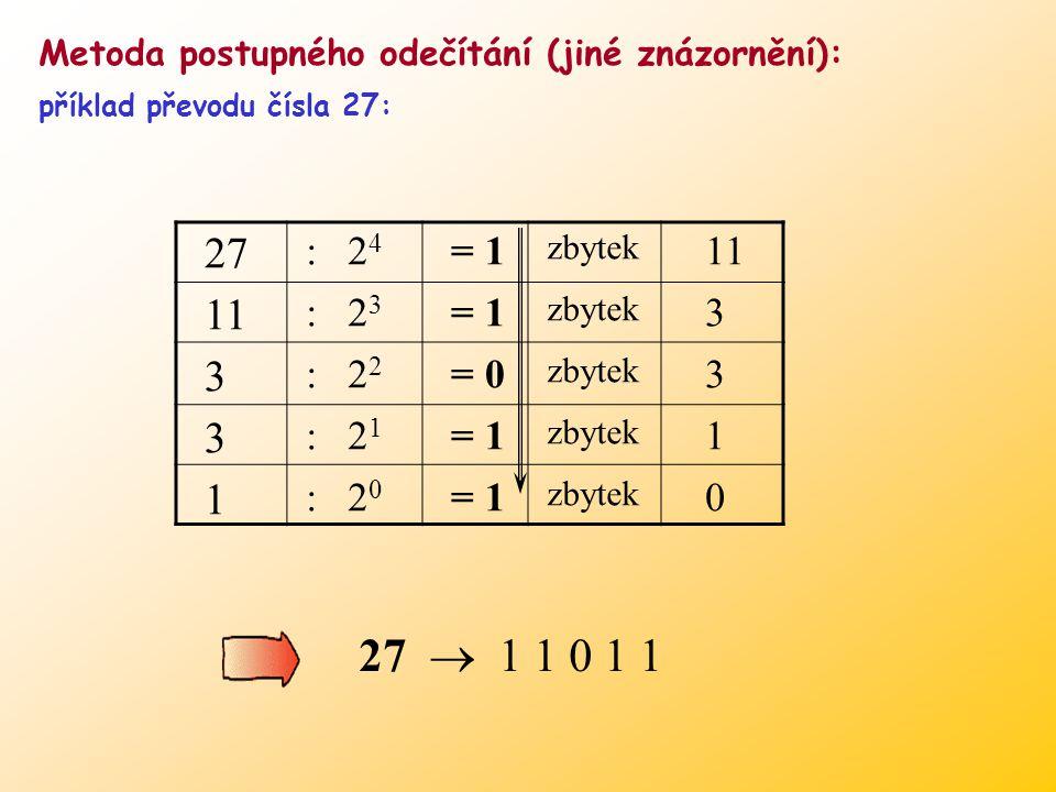 Metoda postupného odečítání (jiné znázornění):