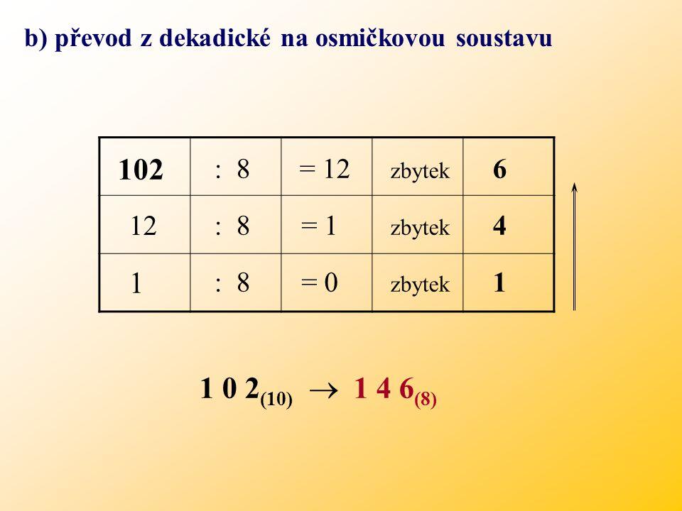 b) převod z dekadické na osmičkovou soustavu