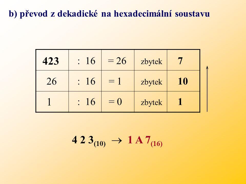 b) převod z dekadické na hexadecimální soustavu