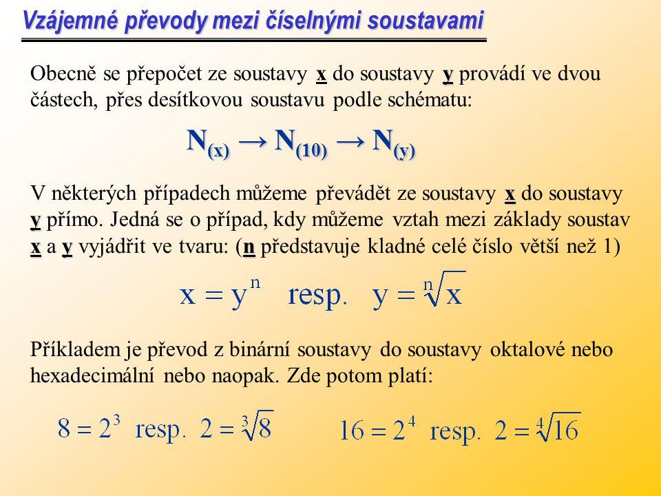 N(x) → N(10) → N(y) Vzájemné převody mezi číselnými soustavami