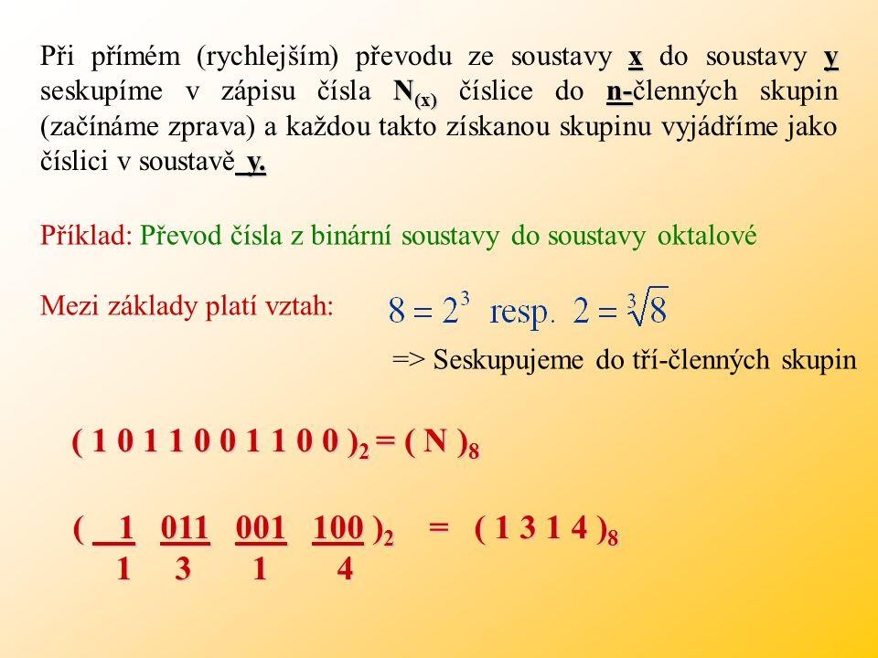 Při přímém (rychlejším) převodu ze soustavy x do soustavy y seskupíme v zápisu čísla N(x) číslice do n-členných skupin (začínáme zprava) a každou takto získanou skupinu vyjádříme jako číslici v soustavě y.