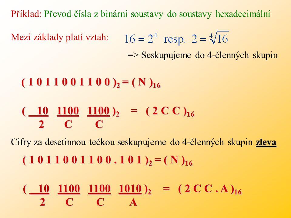 Příklad: Převod čísla z binární soustavy do soustavy hexadecimální