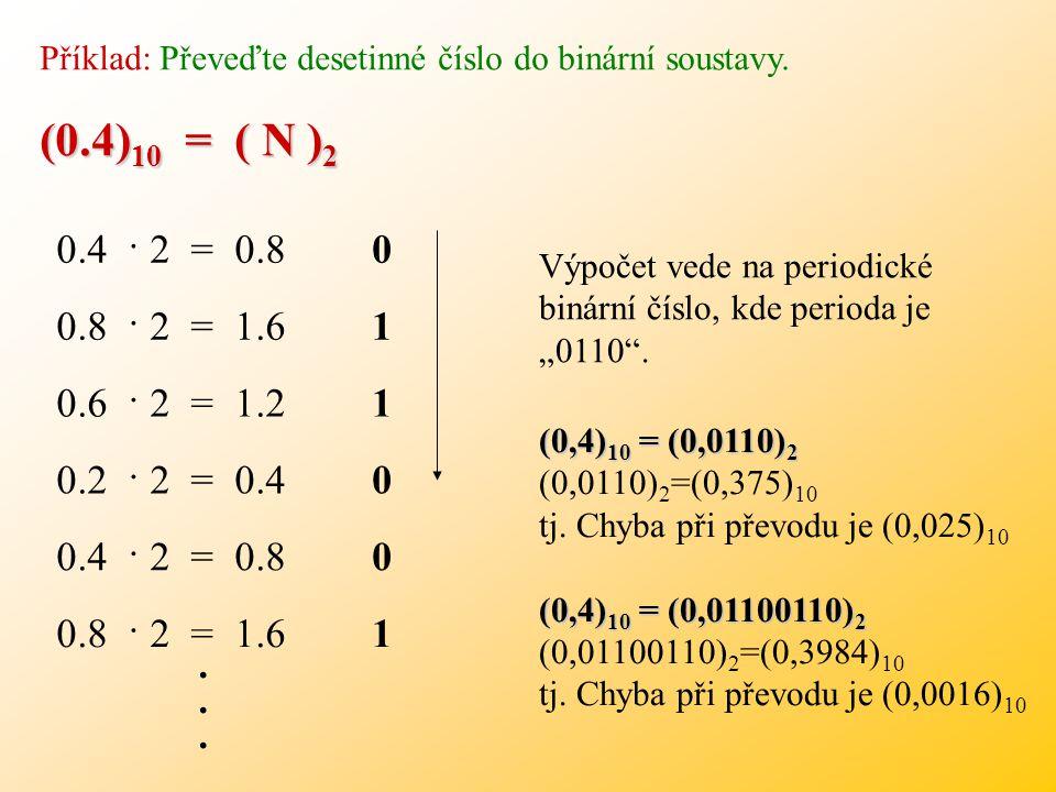 Příklad: Převeďte desetinné číslo do binární soustavy.
