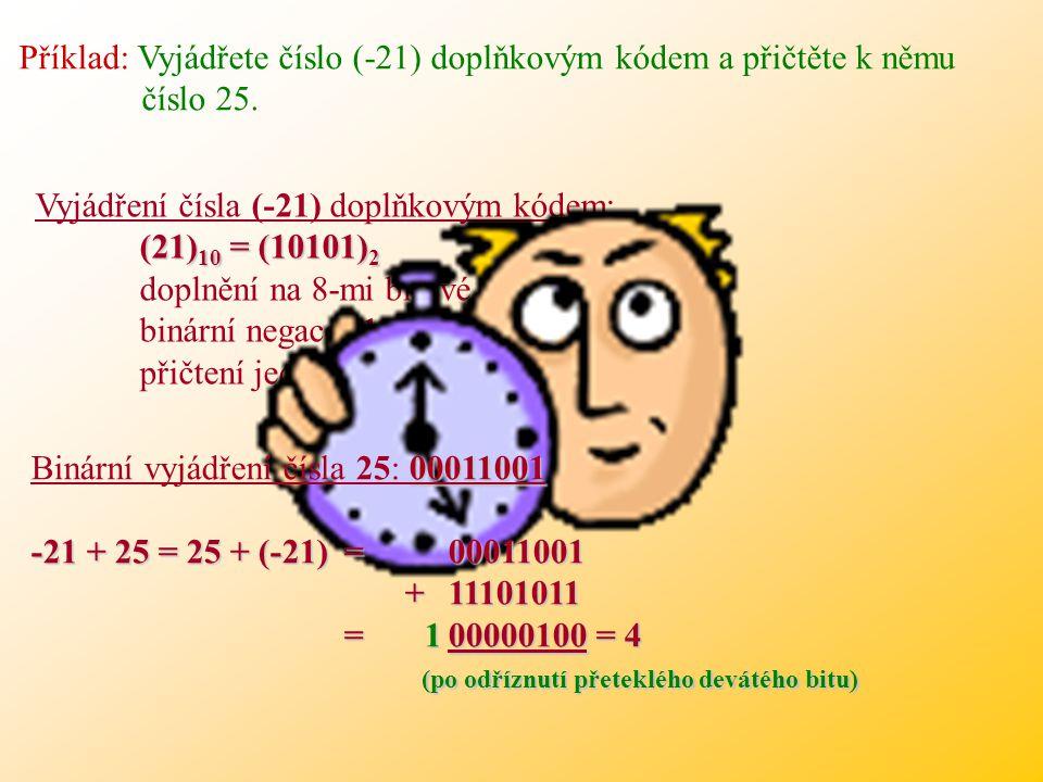 Příklad: Vyjádřete číslo (-21) doplňkovým kódem a přičtěte k němu číslo 25.