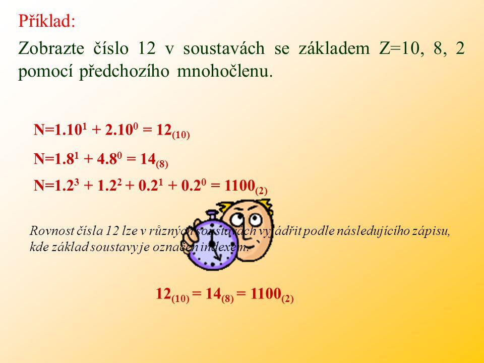 Příklad: Zobrazte číslo 12 v soustavách se základem Z=10, 8, 2 pomocí předchozího mnohočlenu. N=1.101 + 2.100 = 12(10)