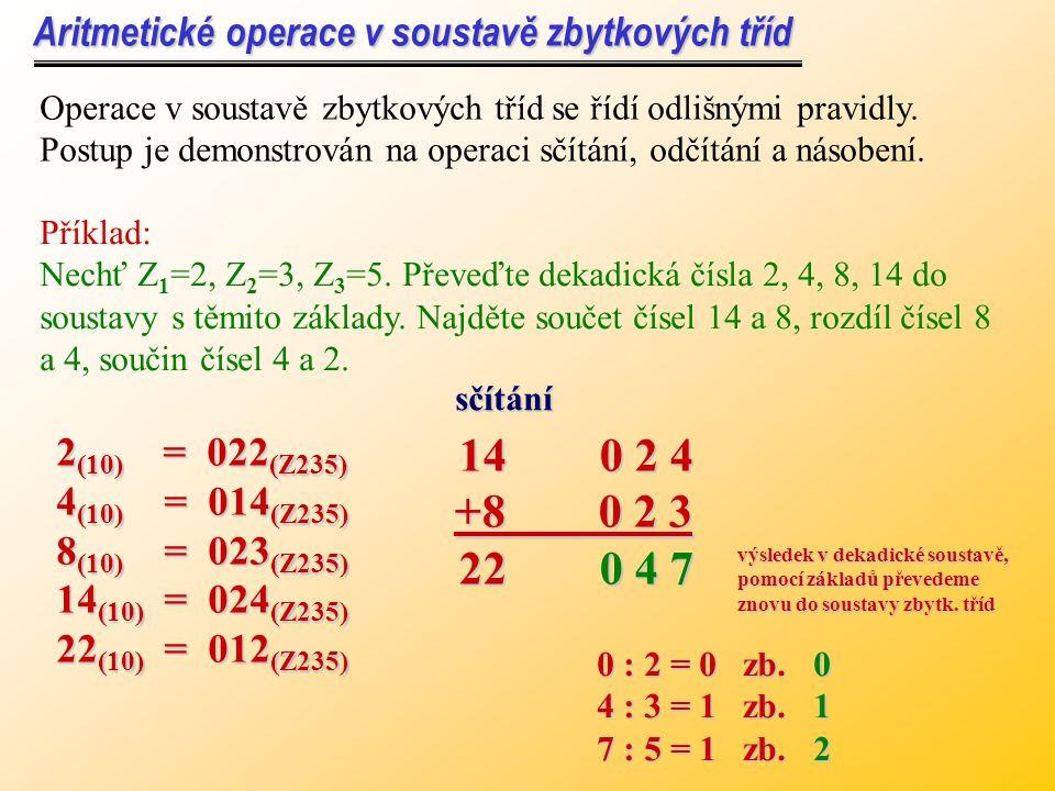 Aritmetické operace v soustavě zbytkových tříd